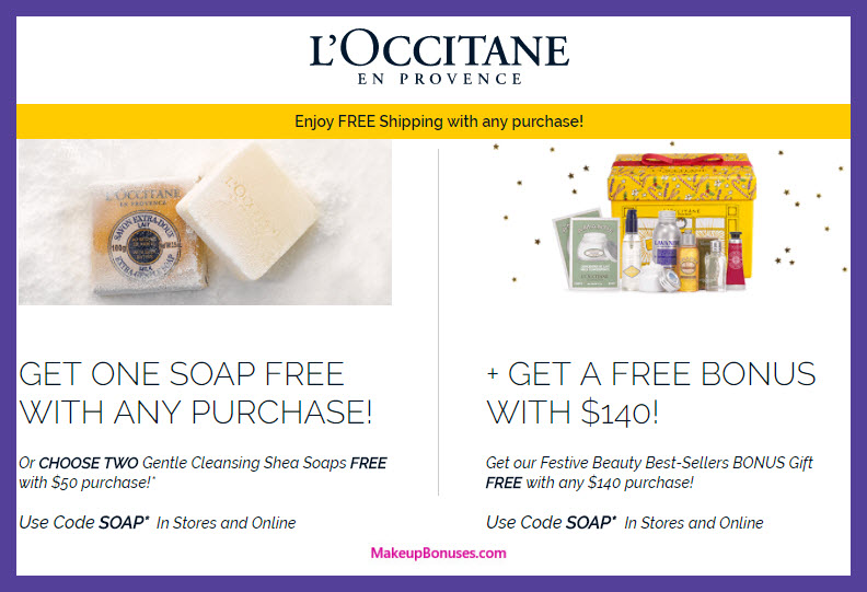 Receive a free 8-pc gift with your $140 L'Occitane purchase