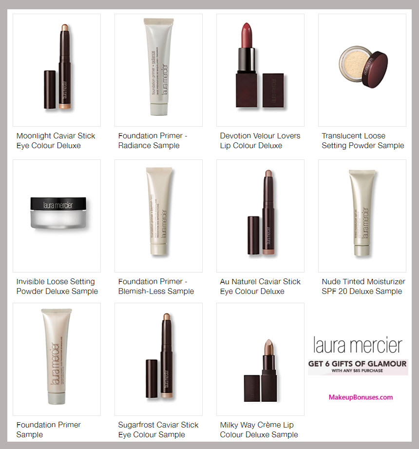 Receive a free 6-pc gift with your $85 Laura Mercier purchase