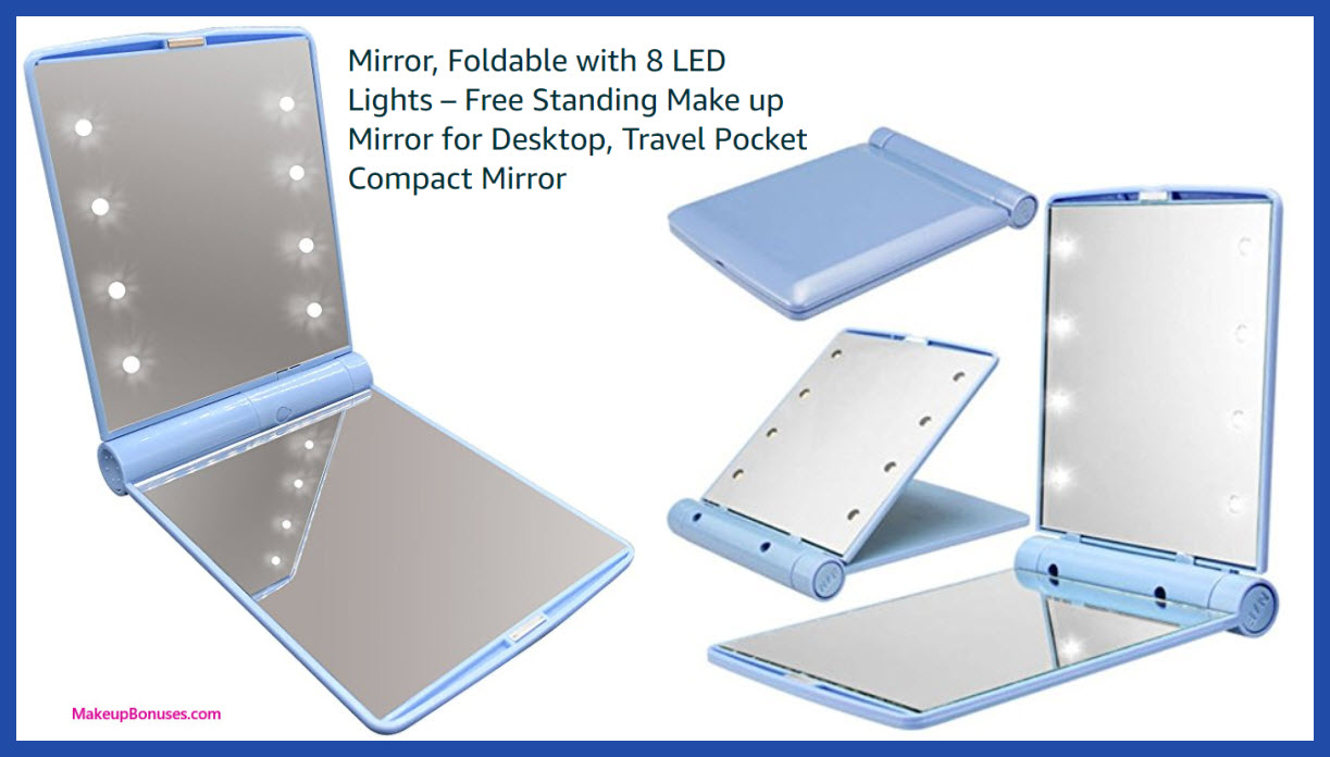 Mini Makeup Mirror, Foldable with Lights - MakeupBonuses.com