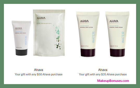 Receive a free 4-pc gift with your $50 AHAVA purchase