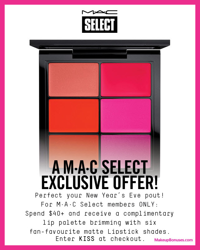 Receive a free 6-pc gift with your $40 MAC Cosmetics purchase