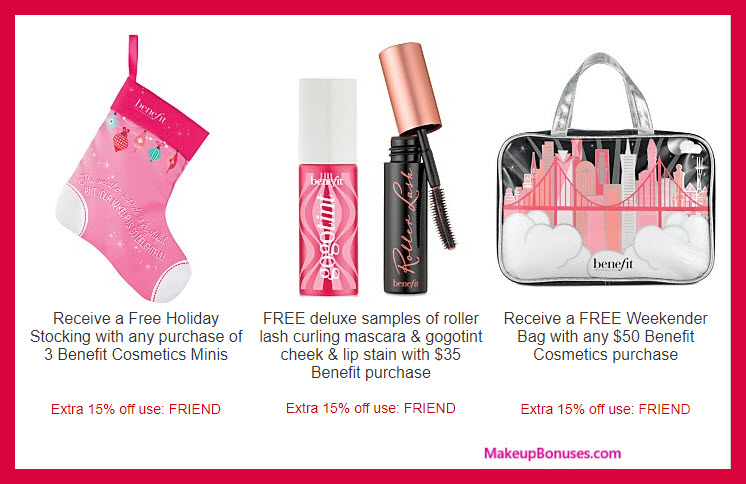 Receive a free 3-pc gift with your $50 Benefit Cosmetics purchase