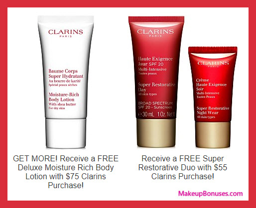 Receive a free 3-pc gift with your $75 Clarins purchase