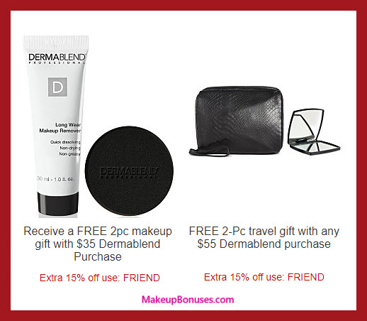 Receive a free 4-pc gift with your $55 Dermablend purchase