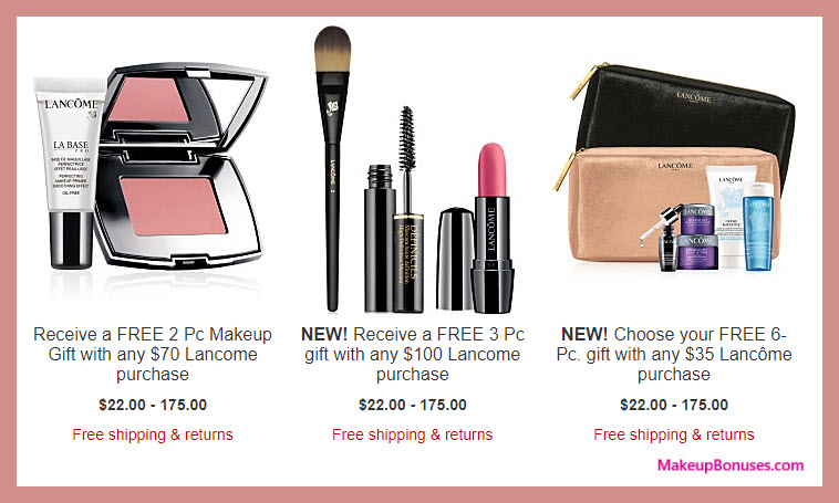 Receive a free 6-pc gift with your $35 Lancôme purchase