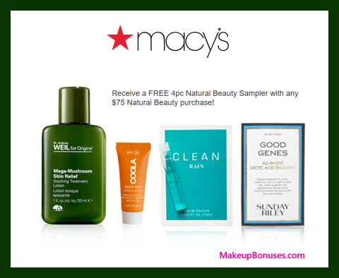 Receive a free 4-pc gift with $75 Natural Beauty purchase