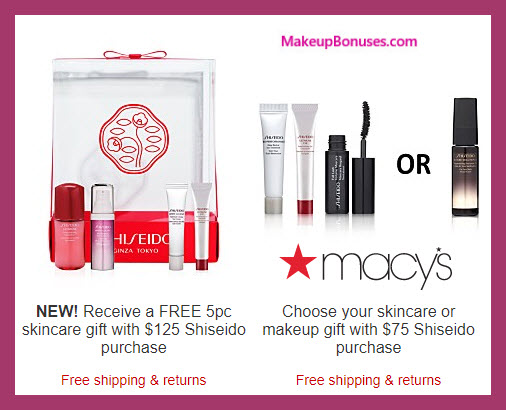 Receive a free 4-pc gift with your $75 Shiseido purchase