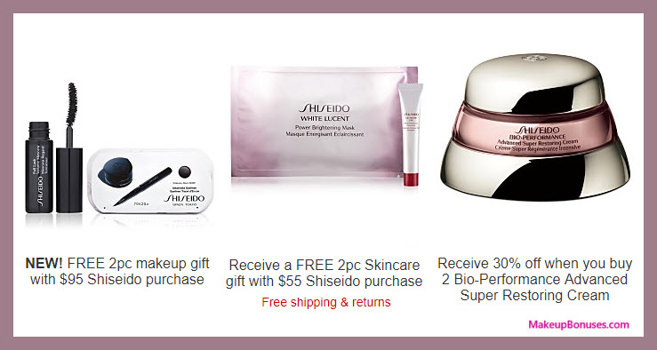 Receive a free 4-pc gift with your $95 Shiseido purchase