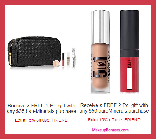 Receive a free 5-pc gift with your $35 bareMinerals purchase