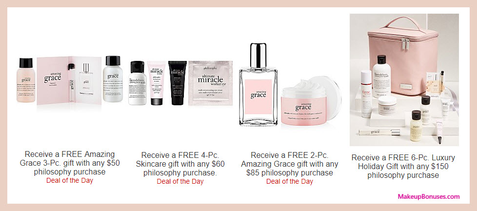 Receive a free 3-pc gift with your $50 philosophy purchase