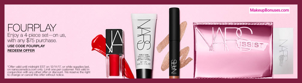 Receive a free 4-pc gift with your $75 NARS purchase