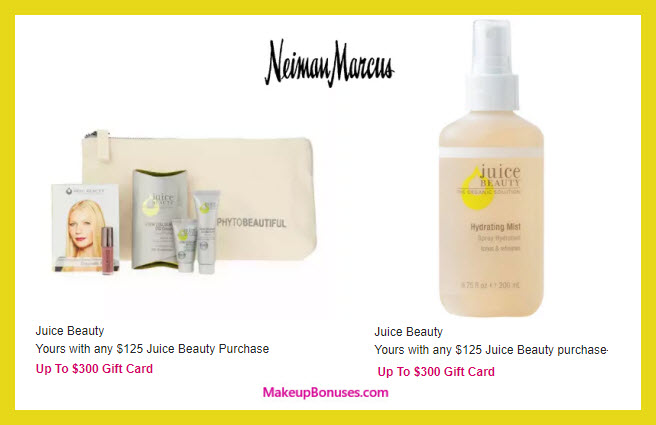 Receive a free 6-pc gift with your $125 Juice Beauty purchase