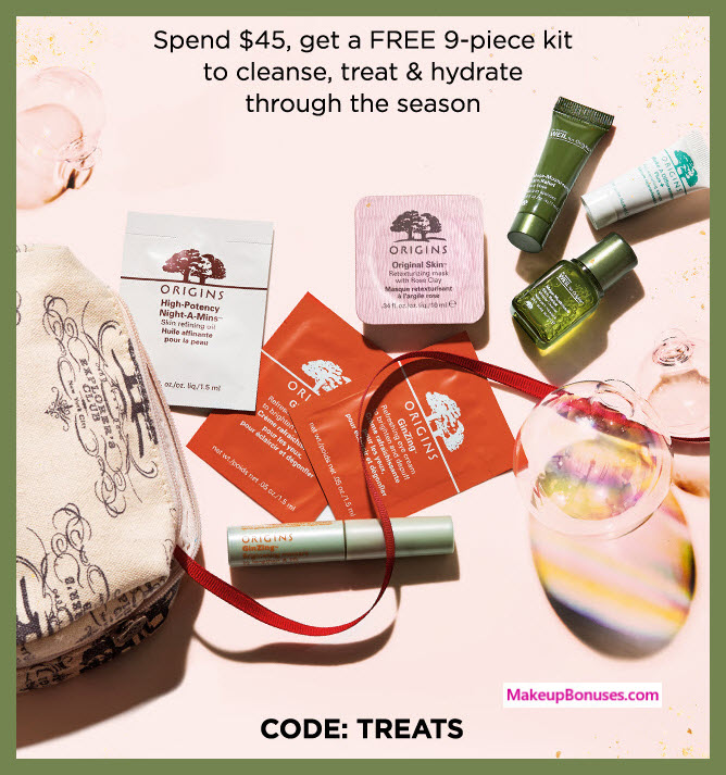Receive a free 9-pc gift with your $45 Origins purchase