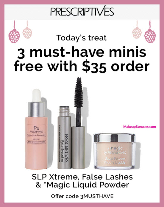 Receive a free 3-pc gift with your $35 Prescriptives purchase