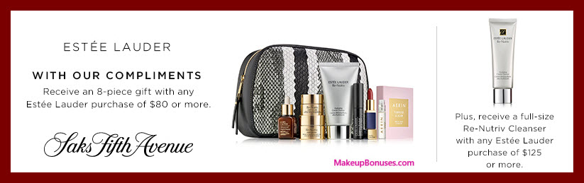 Receive a free 8-pc gift with your $80 Estée Lauder purchase