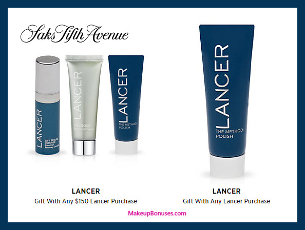 Receive a free 4-pc gift with your $150 LANCER purchase