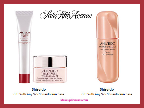 Receive a free 3-pc gift with your $75 Shiseido purchase