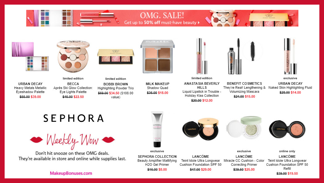 sephora weekly wow discount sale offers makeup bonuses