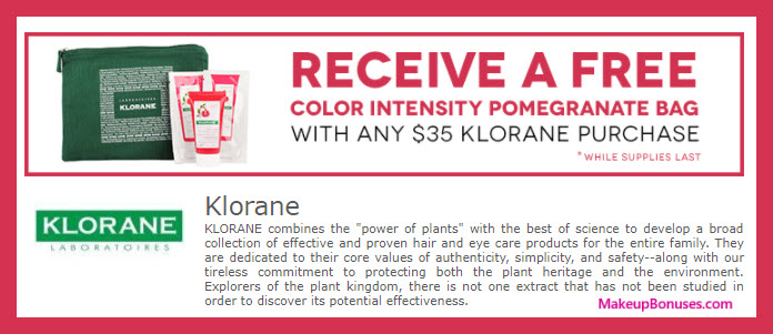 Receive a free 4-pc gift with your $35 Klorane purchase