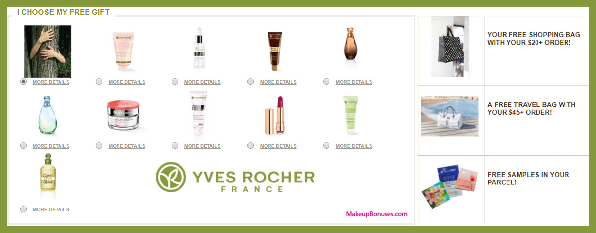 Receive your choice of 3-pc gift with your $45 Yves Rocher purchase