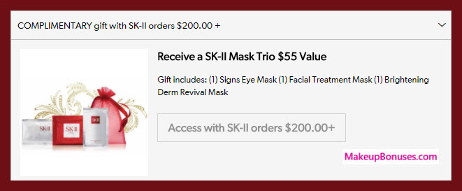 Receive a free 3-pc gift with $200 SK-II purchase