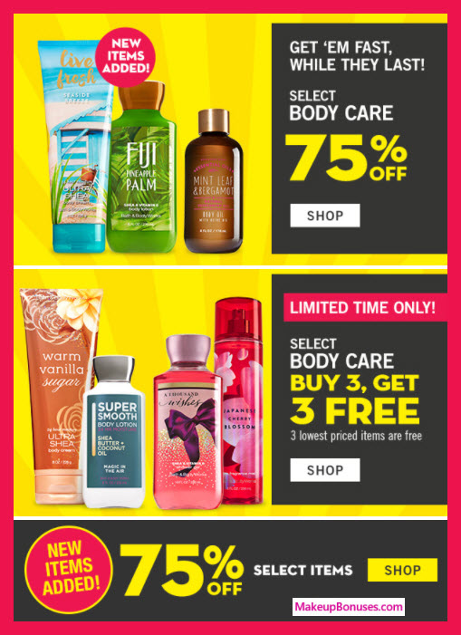 Receive a free 3-pc gift with 3 Body Care Items purchase