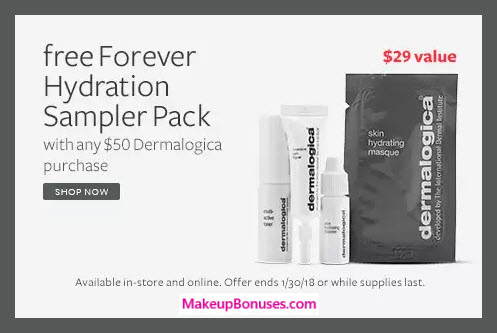 Receive a free 4-pc gift with $50 Dermalogica purchase