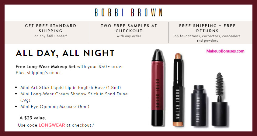 Receive a free 3-pc gift with $50 Bobbi Brown purchase