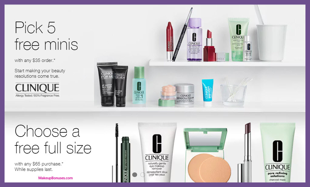 Receive your choice of 5-pc gift with $35 Clinique purchase