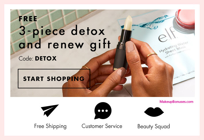 Receive a free 3-pc gift with $25 ELF Cosmetics purchase