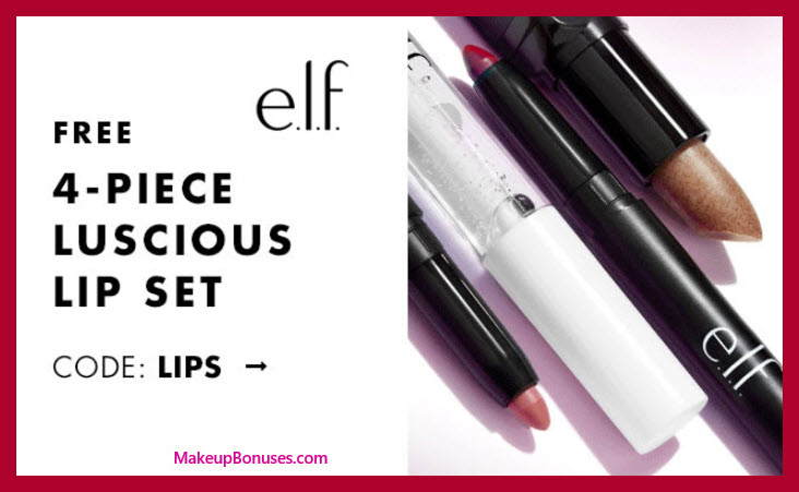 Receive a free 4-pc gift with $25 ELF Cosmetics purchase