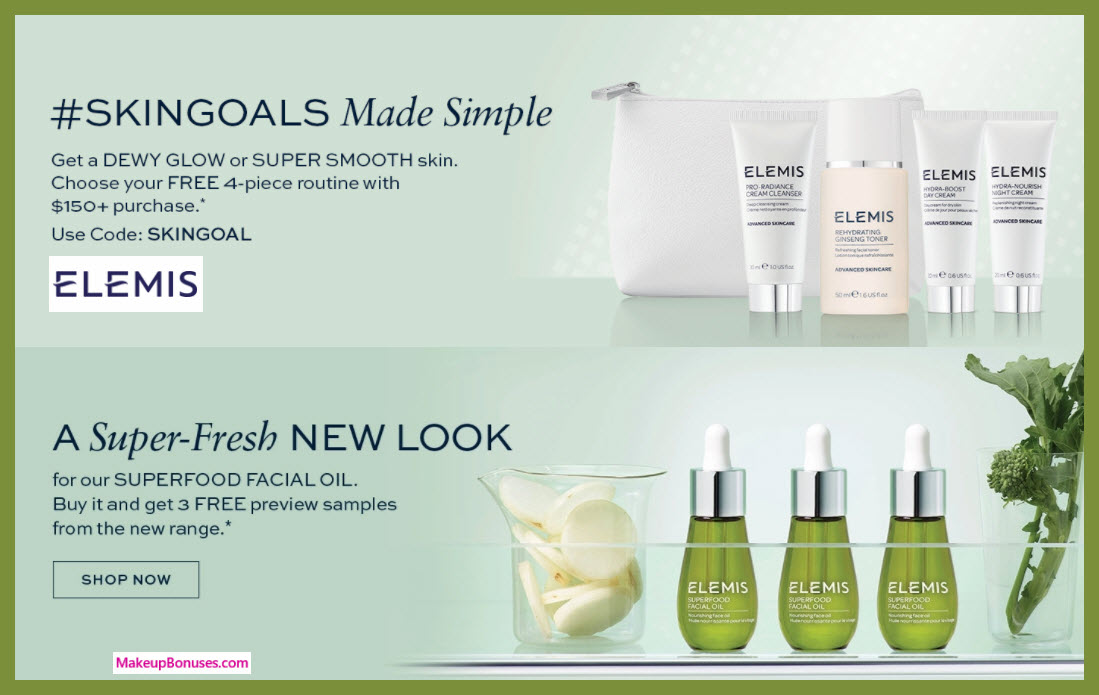 Receive a free 5-pc gift with $150 Elemis purchase