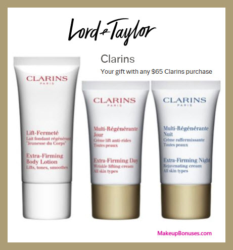 Receive a free 3-pc gift with $65 Clarins purchase