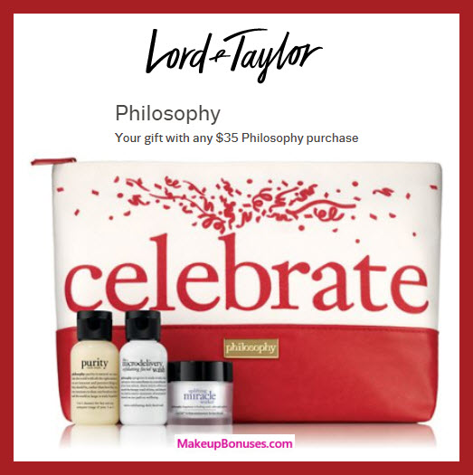 Receive a free 4-pc gift with $35 Philosophy purchase