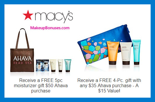 Receive a free 4-pc gift with $35 AHAVA purchase