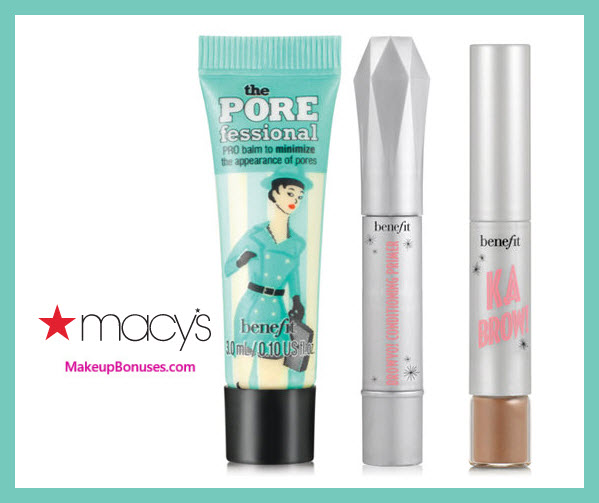 Receive a free 3-pc gift with $45 Benefit Cosmetics purchase