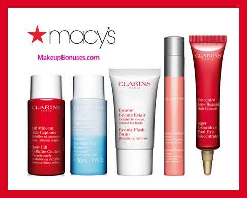 Receive a free 5-pc gift with $75 Clarins purchase