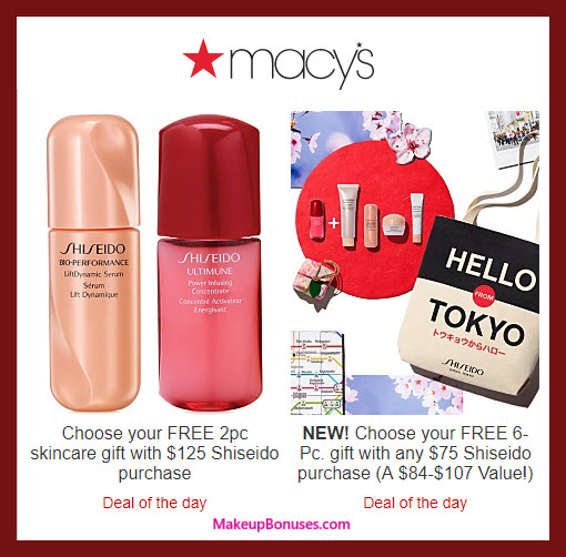 Receive a free 8-pc gift with $125 Shiseido purchase
