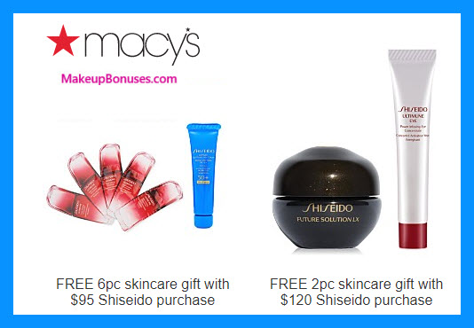 Receive a free 6-pc gift with $95 Shiseido purchase