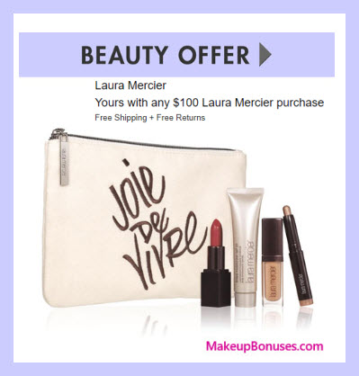 Receive a free 5-pc gift with $100 Laura Mercier purchase