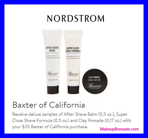Receive a free 3-pc gift with $35 Baxter of California purchase