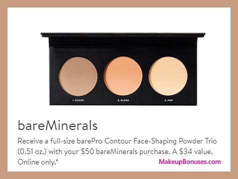 Receive a free 3-pc gift with $50 bareMinerals purchase