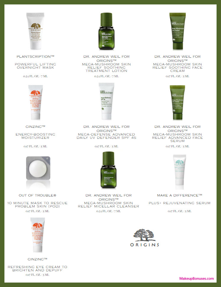 Receive your choice of 5-pc gift with $45 Origins purchase