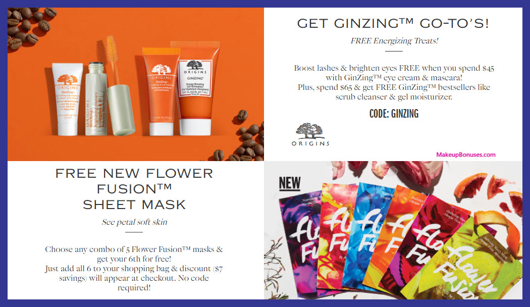 Receive a free 4-pc gift with $65 Origins purchase