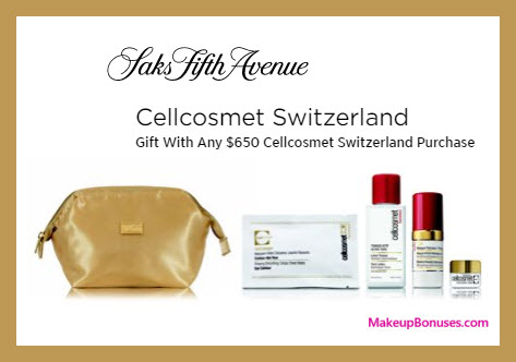 Receive a free 5-pc gift with $650 Cellcosmet Switzerland purchase