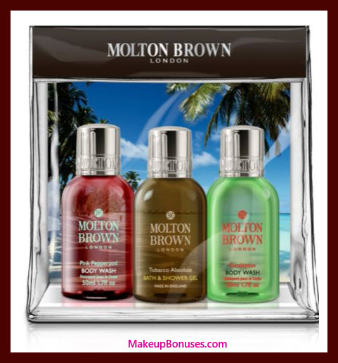 Receive a free 3-pc gift with $50 Molton Brown purchase