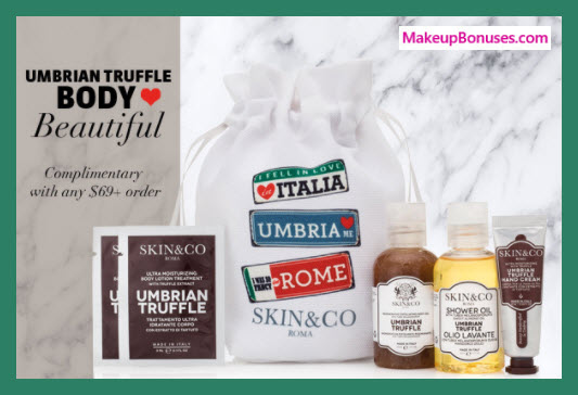 Receive a free 5-pc gift with $69 Skin and Co Roma purchase