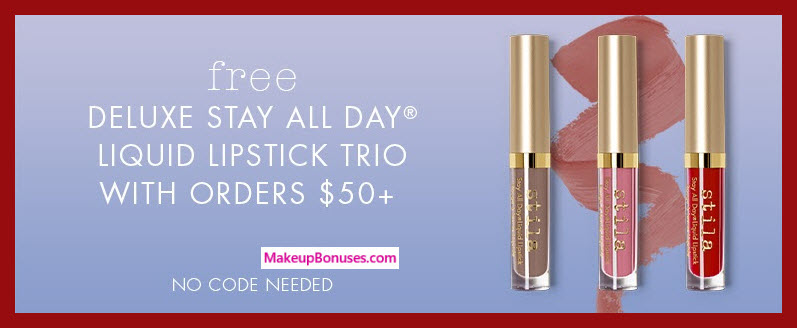 Receive a free 3-pc gift with $50 Stila purchase