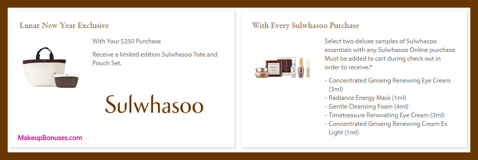Receive a free 4-pc gift with $250 Sulwhasoo purchase