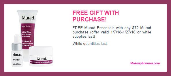 Receive a free 3-pc gift with $72 Murad purchase